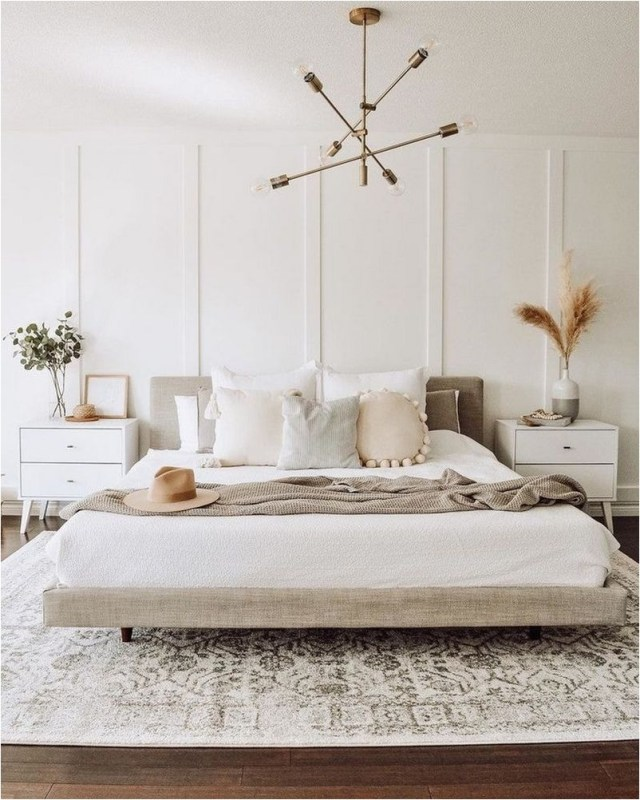 White Bedroom With Aesthetic Pendant Decorations