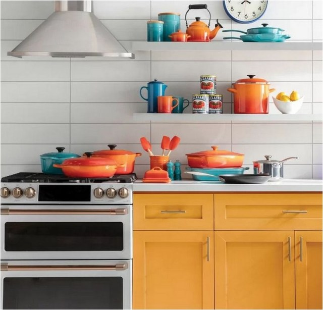 White Kitchen With Colorful Kitchen Tools