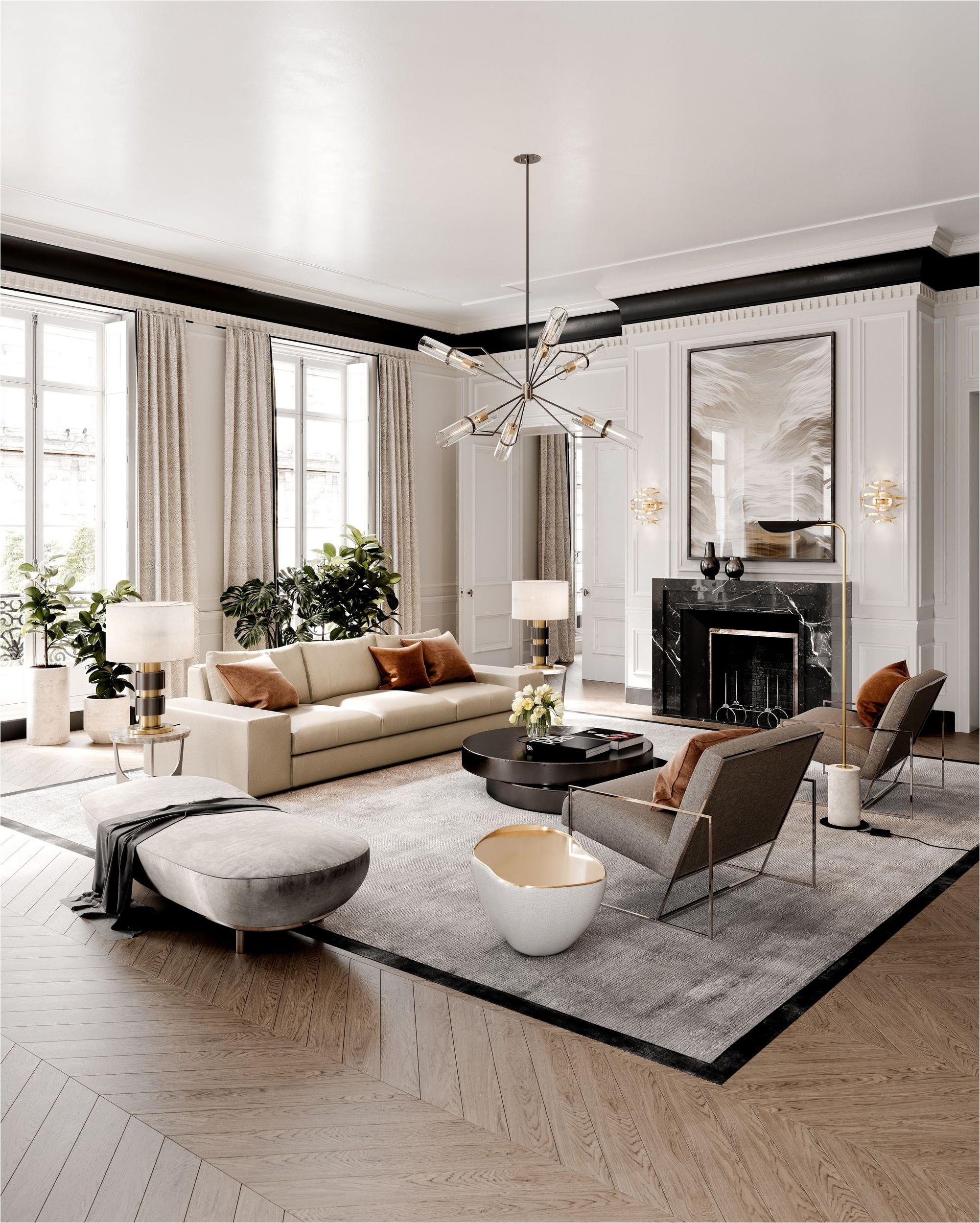 Classic European Style for White-style Apartment with Refreshing Green Accents