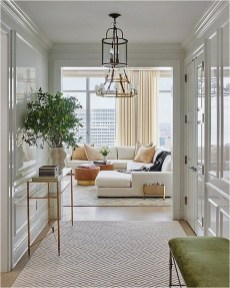 White Apartment With Classic Design And Pendant