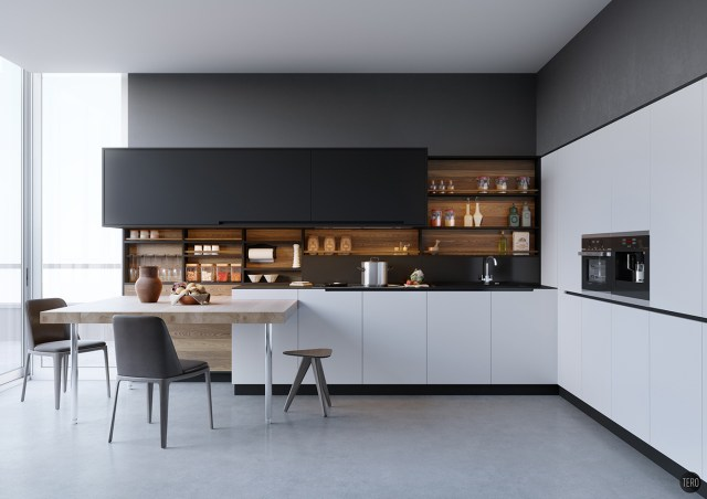 Gray and Black for All-White Style House Design
