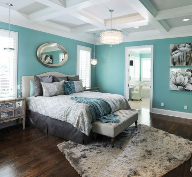 Blue and Gray for Master Bedroom with Various Interest Colors