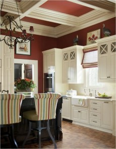 Cream Kitchen Cabinet With Red Ceiling Ideas