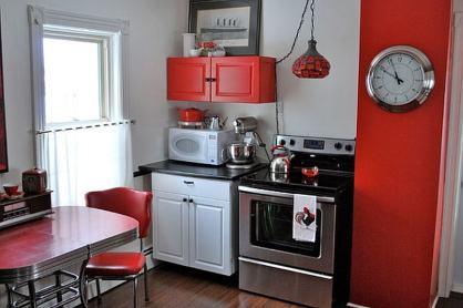 Cute Details for Modern Kitchen with Red Theme