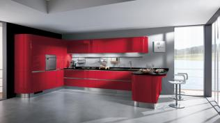 Gray Background for Modern Kitchen with Red Theme