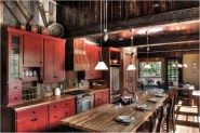 Industrial Kitchen With Red Wood And Natural Color