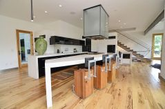 Metal and Wooden Beams for Modern Kitchen Inspiration with Unique Chair Design