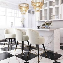 Modern Fabric Kitchen With Marble Table Modern Kitchen Ideas