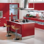 Modern Modular Kitchen Cabinet With Red And Silver Color