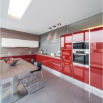 Modern And Classy Kitchen With Red And Grey Color