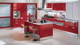Modular Cabinets for Modern Kitchen with Red Theme