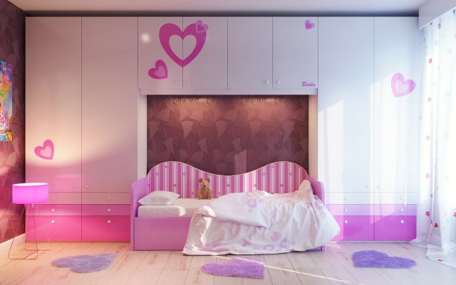 Pink and Lavender for Sweet Bedroom Design with Love Theme