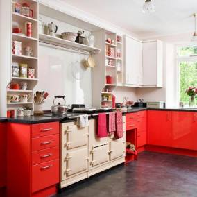 Red and Cream Aga for Modern Kitchen with Red Theme
