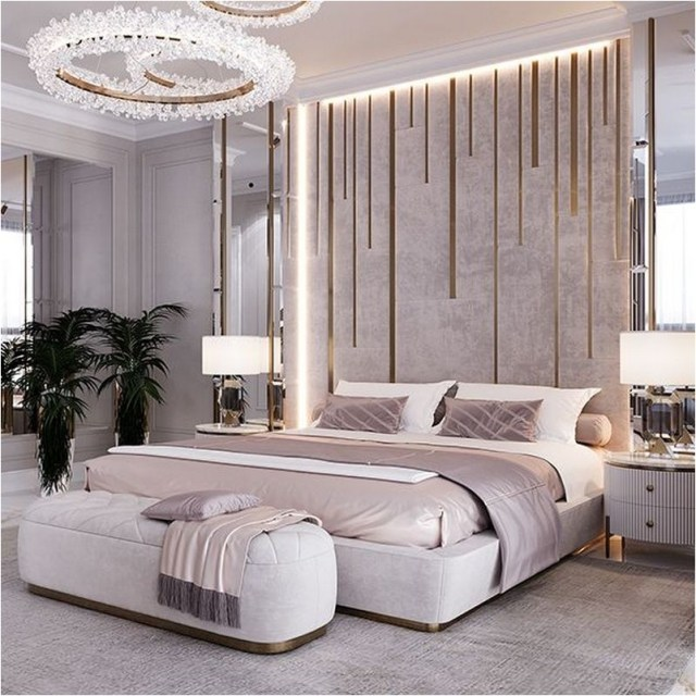 Simple Luxury Master Bedroom With Wall Accent