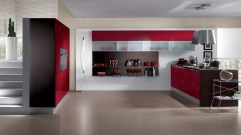 Trendy and Classy for Modern Kitchen with Red Theme