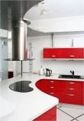 White And Red Kitchen With Half Round Table
