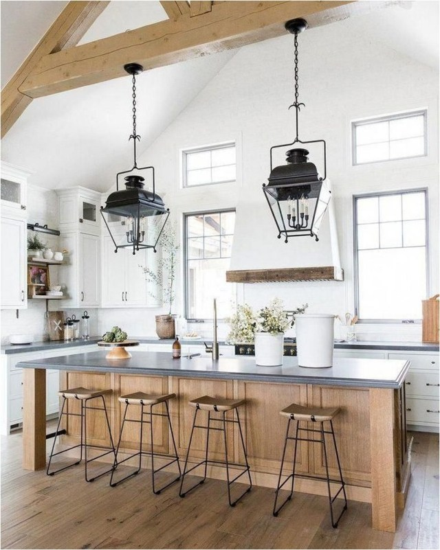 Rustic Kitchen Ideas With Wood And Chandelier