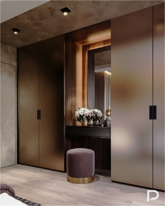 Gold Wardrobe Ideas With Lamp