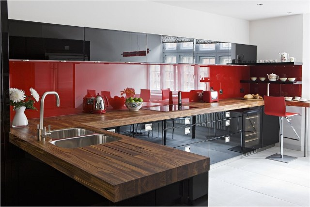 Black And Red Kitchen Two Color Ideas