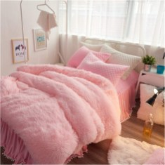 Pink Fluffy Bed Covers Ideas