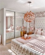 White And Rose Gold Bedroom Ideas With Rose Gold Pendant