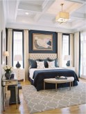 Blue Whiat And Light Brown Color Bedroom