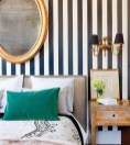 Earthy Tone Stripes for Bedrooms with an Amazing Half and Half Color Combination