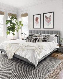 Grey Bedroom With Geometric Art