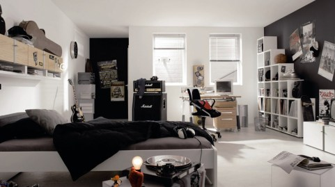 Monochrome for Bedrooms with an Amazing Half and Half Color Combination