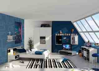 White and Blue Wall Statement for Bedrooms with an Amazing Half and Half Color Combination