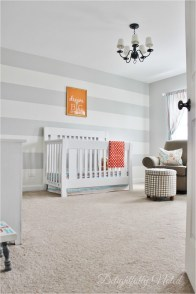 White And Grey Wall Stripes Baby Room Decorations