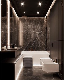 Black Bathroom Design With Dim Lamp