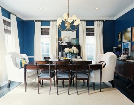 Blue Dining Room With Long Curtains