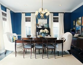 Curtains for Dining Room with All-Blue Theme