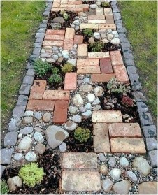 DIY Walking Path With Brick And Stone