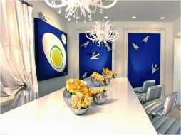 Dining Room With Blue 3D Painting