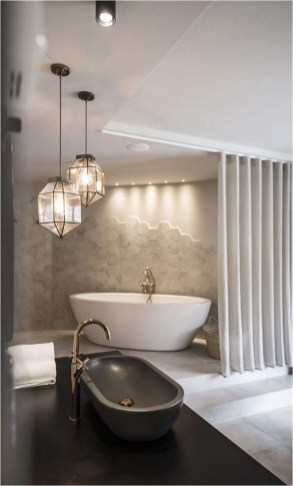 Hexagon Pendant Lamp Bathroom Ideas