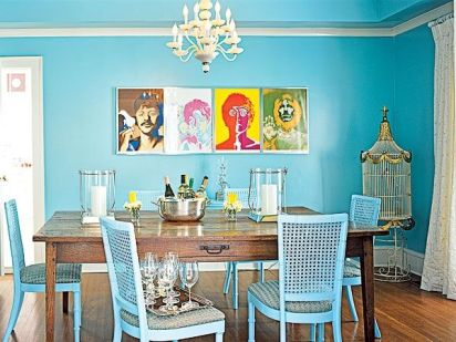 Vintage for Dining Room with All-Blue Theme