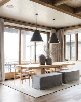 Ceiling Wood Combination In Dining Room