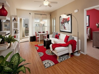 Red Accent for Tips and Tricks to Decorate a Narrow Living Room
