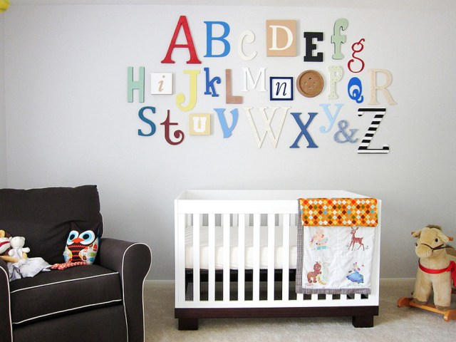 Baby Room Bedroom Ideas With Alphabet Wall Art