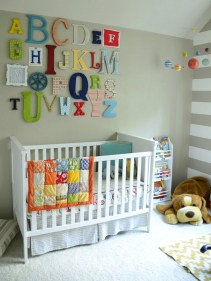 Charming Eclectic Baby Girl Bedroom Ideas With Alphabet Wall Art White Cradles And Handmade Quilt And Puppies Dool