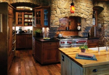 Cottage Inspired Kitchen With Stone Wall