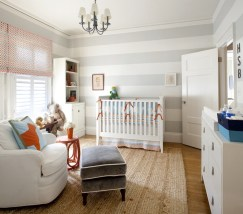 Modern Baby Room With Horizontal White And Grey Wall Stripes And Sofa