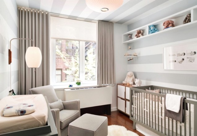 Modern Baby Room With Horizontal White And Grey Wall Stripes
