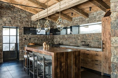 Rustic Kitchen With Stone Walls