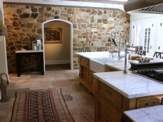 Stunning Kitchen Stone Wall Hooked Houses
