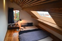 Attic Bedroom Wooden Ceiling With Window