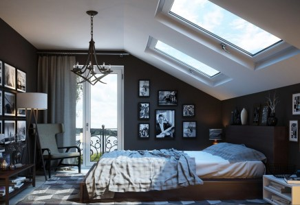 Bedroom Home Decor Tasteful Attic Bedroom With White Wooden Wall And Windows