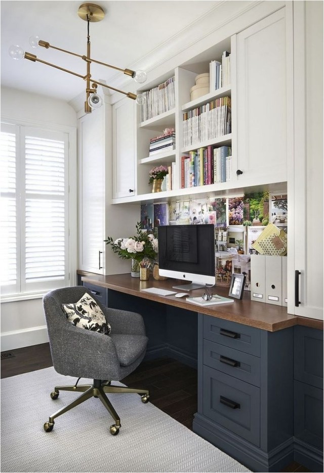 Black And White Built In Study Desk Ideas
